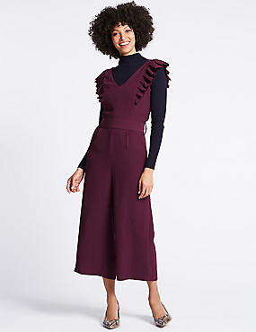 Frill Sleeve Jumpsuit, PURPLE, catlanding