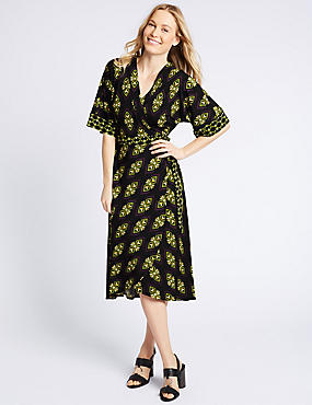 Geometric Print Half Sleeve Wrap Midi Dress , PURPLE MIX, catlanding