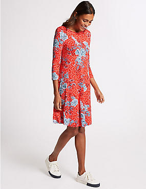 Floral Print Long Sleeve Swing Dress, RED MIX, catlanding