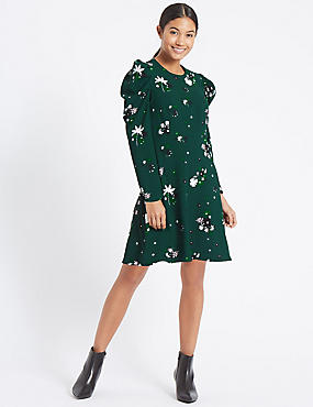 Floral Print Puff Sleeve Skater Dress