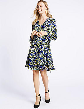 Floral Print Long Sleeve Wrap Dress , BLACK MIX, catlanding