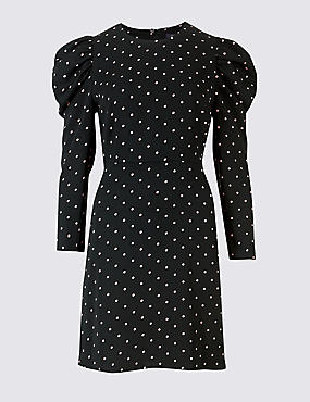 Spotted Puff Sleeve Skater Dress