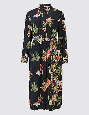 PETITE Floral Print Shirt Midi Dress