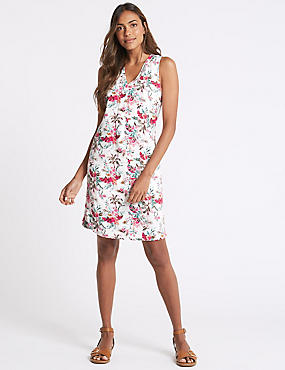 Linen Blend Printed Curved Hem Shift Dress