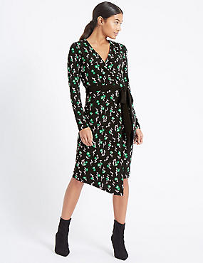 Printed Long Sleeve Wrap Dress, BLACK MIX, catlanding