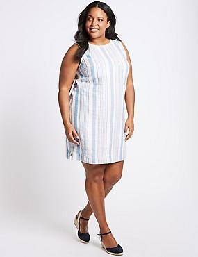 CURVE Linen Blend Striped Tunic Dress  , NAVY MIX, catlanding