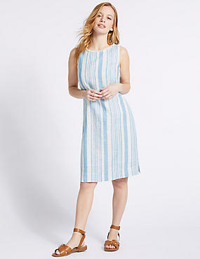 PETITE Linen Blend Striped Tunic Dress , NAVY MIX, catlanding