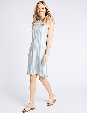 Linen Blend Striped Tunic Dress, NAVY MIX, catlanding