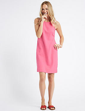 Linen Blend Sleeveless Tunic Dress, PINK, catlanding