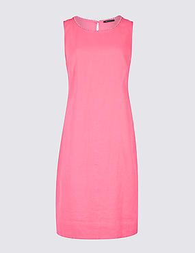 Linen Blend Sleeveless Tunic Dress, PINK, catlanding