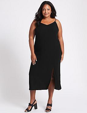 CURVE Slip Midi Dress, BLACK, catlanding