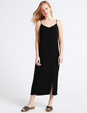PETITE Slip Midi Dress , BLACK, catlanding