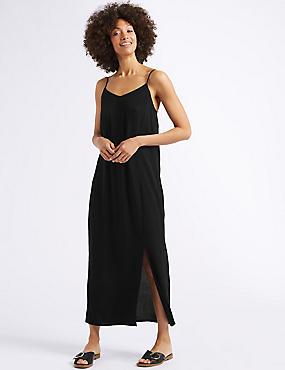 Front Split Slip Midi Dress , BLACK, catlanding