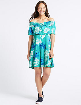 Palm Print Half Sleeve Bardot Dress