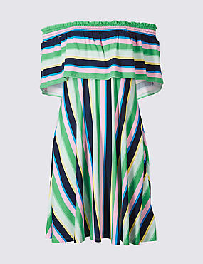 Striped Half Sleeve Bardot Dress , MULTI, catlanding