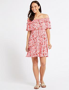 Paisley Print Smocked Bardot Dress, CORAL MIX, catlanding