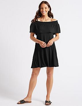 Smocked Half Sleeve Bardot Dress, BLACK, catlanding