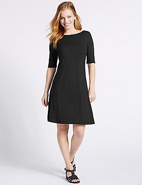 PETITE Jersey Half Sleeve Swing Dress, BLACK, catlanding