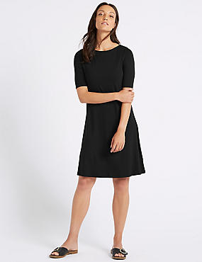 Jersey Half Sleeve Swing Dress , BLACK, catlanding
