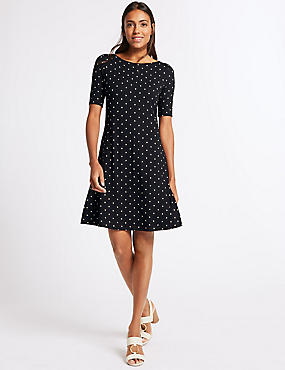Printed Half Sleeve Swing Dress , BLACK MIX, catlanding
