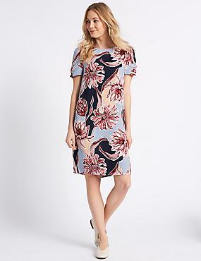 Floral Print Short Sleeve Tunic Dress , BLUE MIX, catlanding