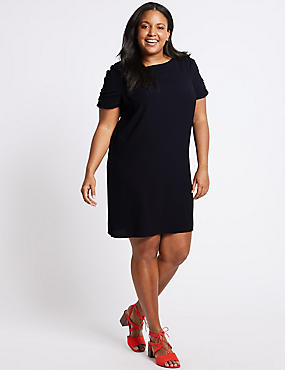 CURVE Ruched Sleeve Tunic Dress , NAVY, catlanding