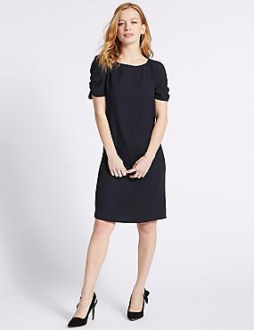 PETITE Ruched Sleeve Tunic Dress , NAVY, catlanding