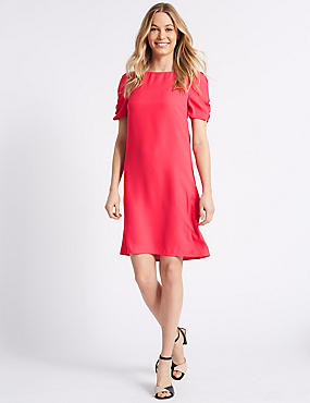Ruched Sleeve Tunic Dress