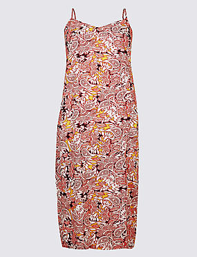 CURVE Floral Print Slip Midi Dress