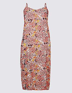 CURVE Floral Print Slip Midi Dress , RED MIX, catlanding