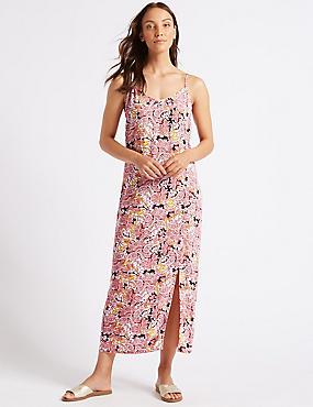 Floral Print Slip Maxi Dress , RED MIX, catlanding