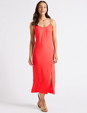 Front Split Slip Midi Dress , FLAME, catlanding