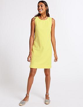 Linen Blend Tunic Dress , YELLOW, catlanding