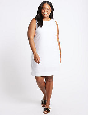 CURVE Linen Blend Round Neck Tunic Dress, IVORY, catlanding