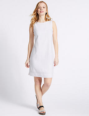 PETITE Linen Blend Tunic Dress, IVORY, catlanding