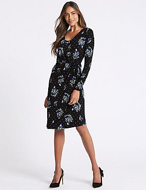 Floral Print Asymmetric Wrap Midi Dress, BLACK MIX, catlanding