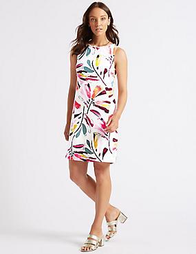 Linen Blend Daisy Print Tunic Dress , IVORY MIX, catlanding