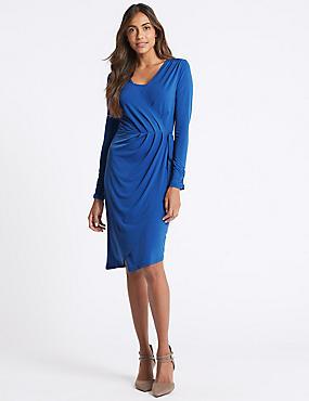 Asymmetric Drape Wrap Midi Dress, BLUE, catlanding