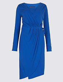 Asymmetric Drape Wrap Midi Dress