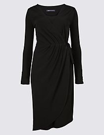 Asymmetric Long Sleeve Wrap Midi Dress