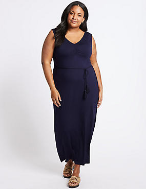 CURVE Ruched Slip Maxi Dress , NAVY, catlanding