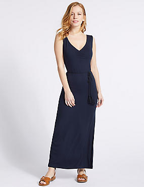 PETITE Ruched Slip Maxi Dress  , NAVY, catlanding
