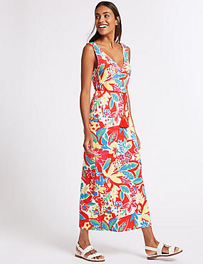 Floral Print Maxi Dress , CORAL MIX, catlanding