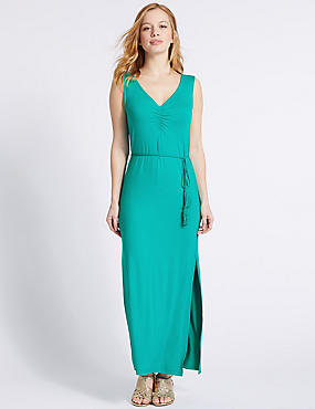PETITE Ruched Maxi Dress , GREEN, catlanding