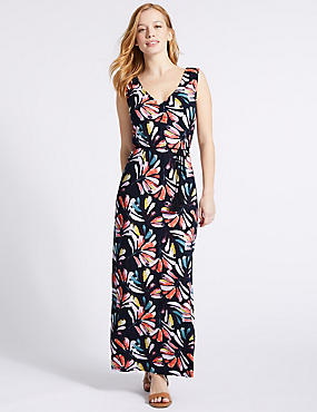 PETITE Leaf Print Maxi Dress , NAVY MIX, catlanding