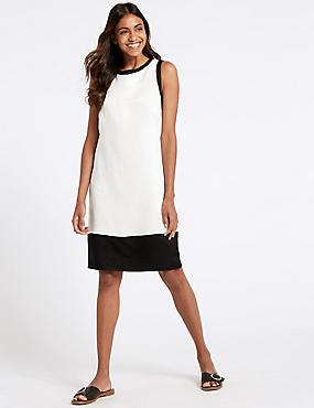 Linen Rich Colour Block Tunic Dress, OATMEAL MIX, catlanding