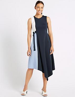 Colour Block Wrap Midi Dress , NAVY MIX, catlanding