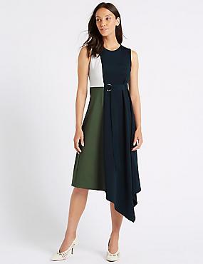 Colour Block Wrap Midi Dress , GREEN MIX, catlanding