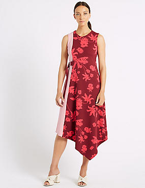 Colour Block Floral Print Wrap Midi Dress , PINK MIX, catlanding