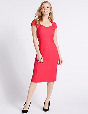 PETITE Short Sleeve Bodycon Midi Dress , PINK, catlanding